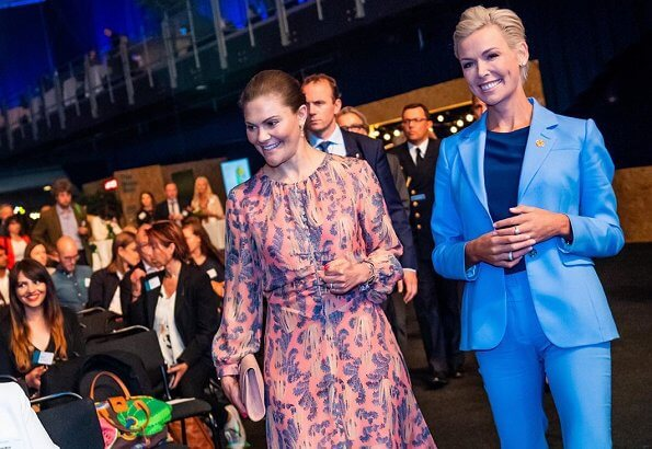 Crown Princess Victoria wore H&M print silk dress from H&M conscious exclusive, at EAT Stockholm Food Forum 2019