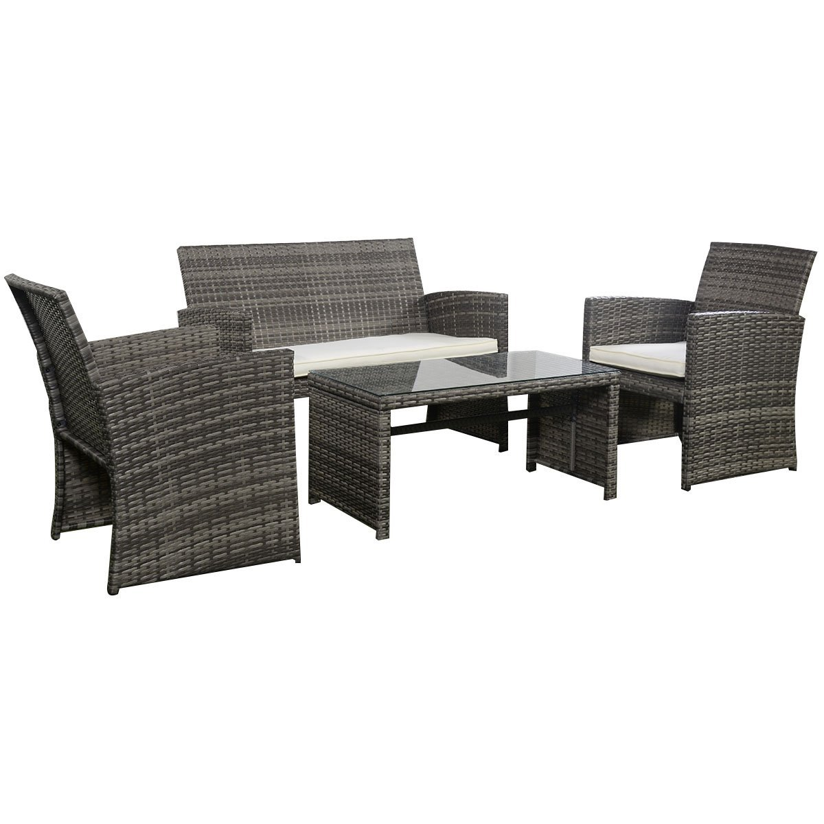 Outdoor Garden Patio 4 Piece Cushioned Seat Mix Gray Wicker Sofa Furniture Set Outdoor Patio
