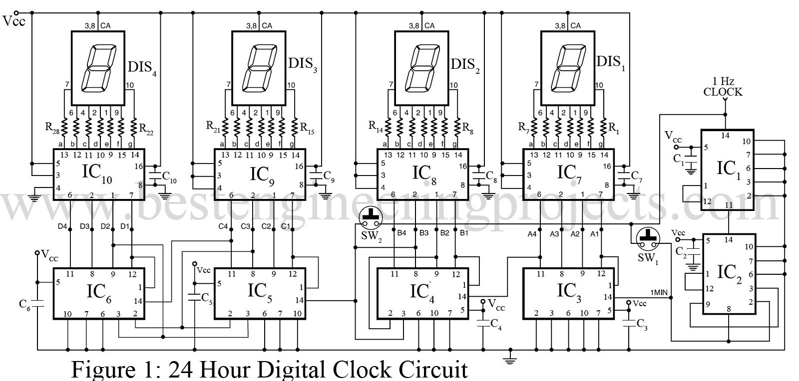 digital clock without microcontroller