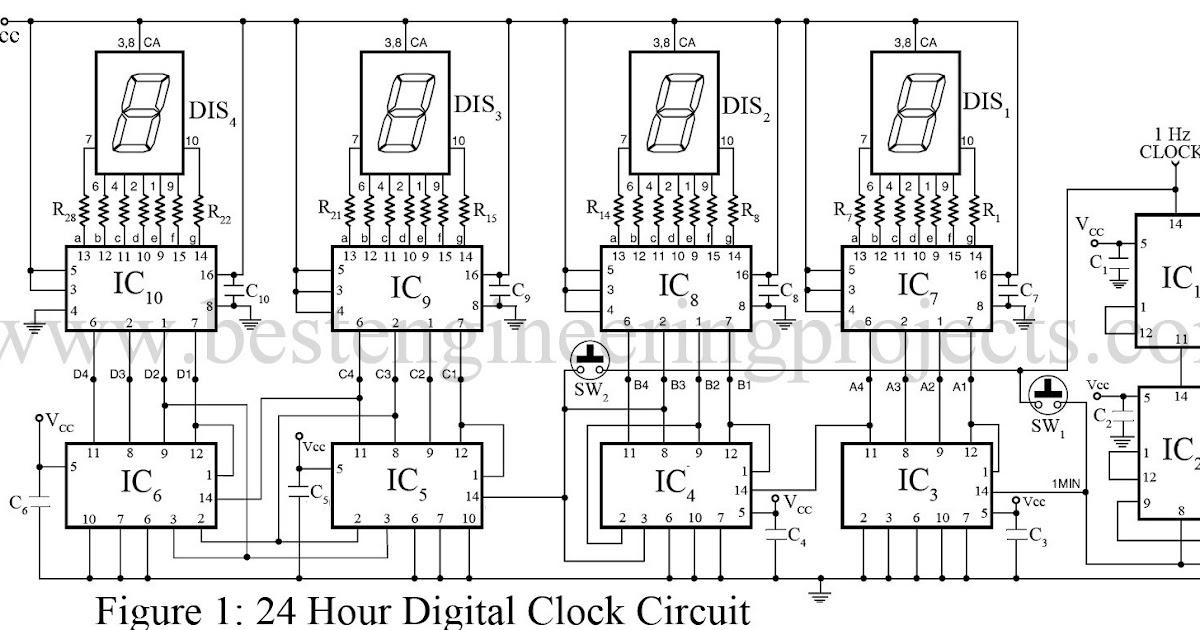 Digital Clock Without Microcontroller ~ Electronic Engineer