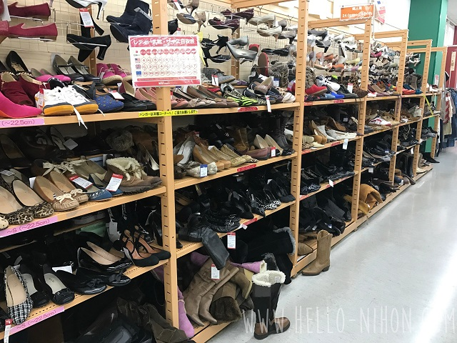 Shoe rack at Japan thrift store
