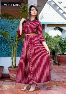 Mustard Bells and Belts Rayon Party wear kurtis