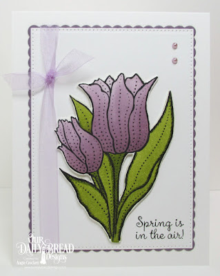 Our Daily Bread Designs Stamp Set:Tulips, Custom Dies: Tulip, Circle Scalloped Rectangles, Pierced Rectangles