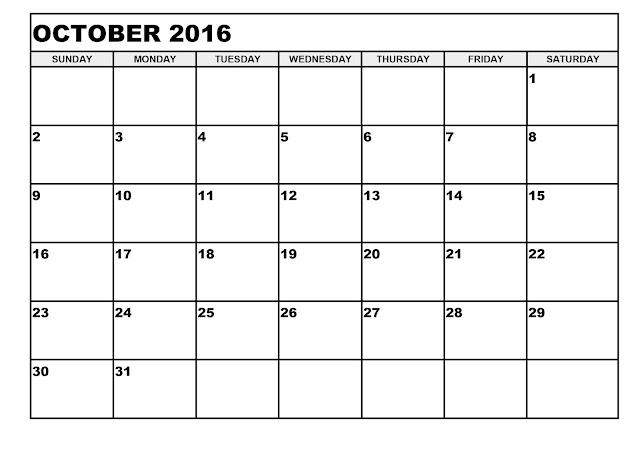 October  Blank Printable Calendar
