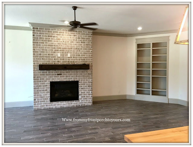 Model- Home-Tour-French-Flare-Floor to Ceiling-Fireplace-Built ins-From My Front Porch To Yours