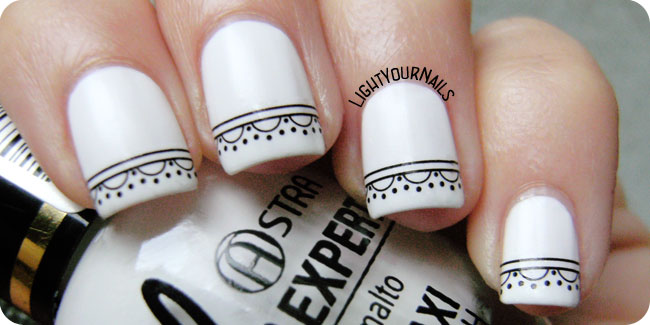 Black and white elegant lace French mani