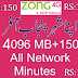 Zong new package 4096 MB | 150 All network Minutes
