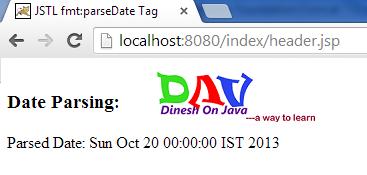 JSTL ParseDate & FormatDate Example