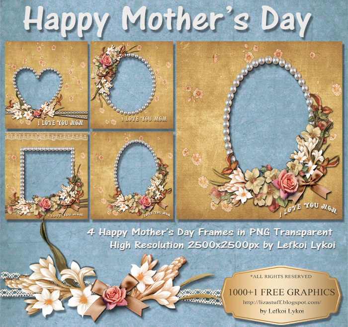 1000+1 FREE GRAPHICS : 4 Happy Mother's Day Frames in PNG ...