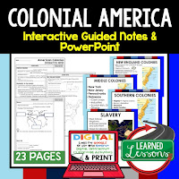 Colonialism, American History Guided Notes, American History Interactive Notebook, Google and Print, American History Note Taking, American History PowerPoints, American History Anticipatory Guides