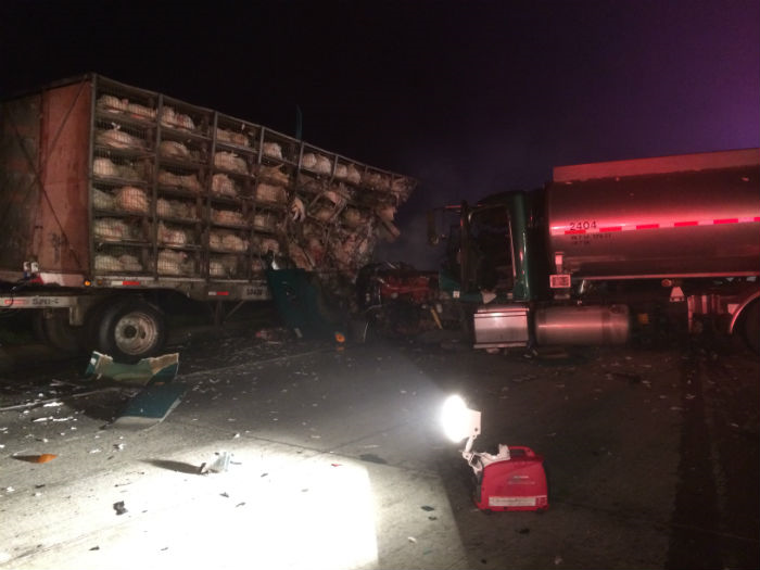 fresno county highway 41 fatality big rig crash pileup foster farms