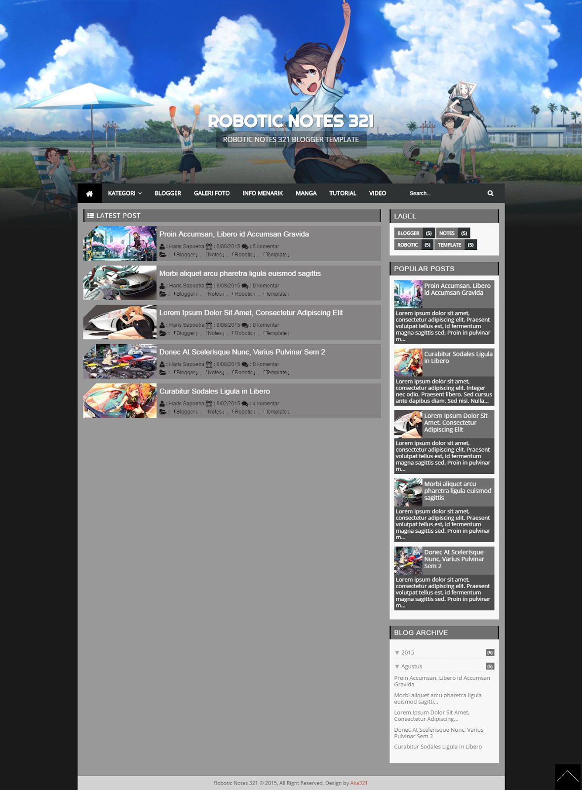 Robotic Notes 321 Blogger Template Preview, Aka321 Blogger Template, Aka321 Blogger Tutorial, Aka321 Robotic Notes 321 Template, Anime Blogger Template