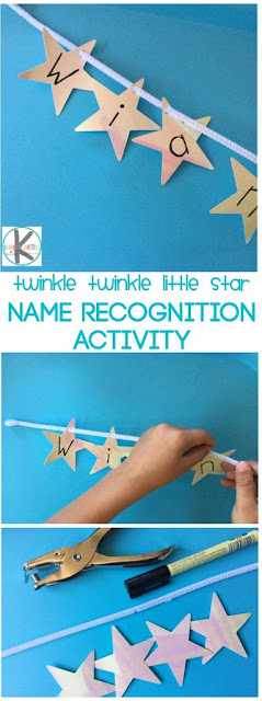 This super cute and fun nursery rhyme activity uses twinkle twinkle little star rhyme as it's base and helps toddler, preschool, and kindergarten age kids to learn their names with a name recognition activity.