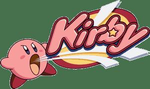 Imagen de un logo de Kirby que muestra a la bolita rosa absorbiendo las letras de Kirby - Fuente Wikipedia - Nintendo