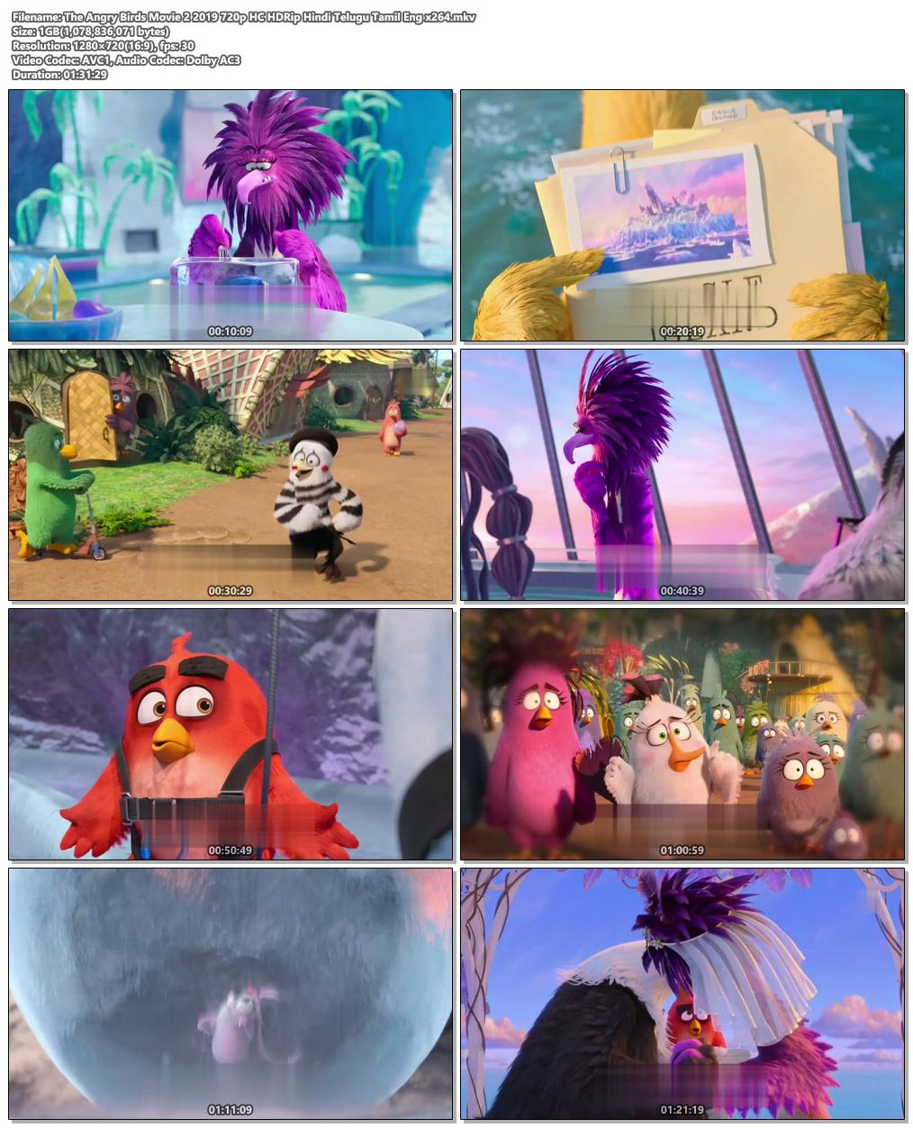 The Angry Birds Movie 2 2019 720p HC HDRip Hindi Telugu Tamil Eng | 480p 300MB | 100MB HEVC Screenshot