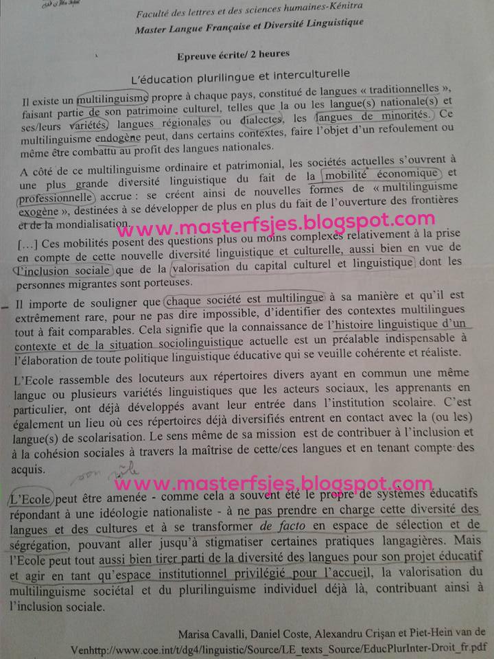 Master Langue Française et Diversité Linguistique