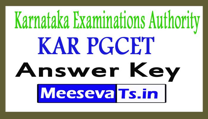Karnataka PGCET Answer Key 2017