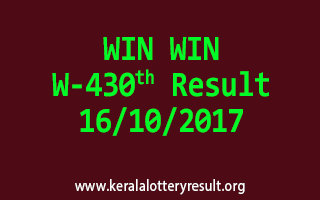 WIN WIN Lottery W 430 Results 16-10-2017