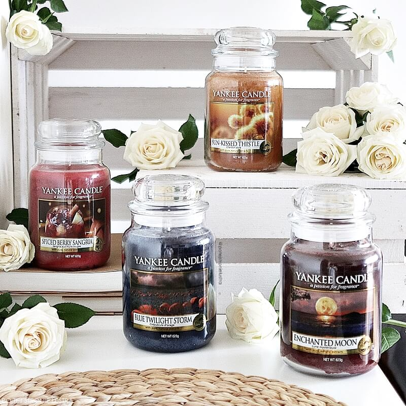 świece yankee candle enchanted moon, sun kissed thistke, blue twilight storm i spiced berry sangria