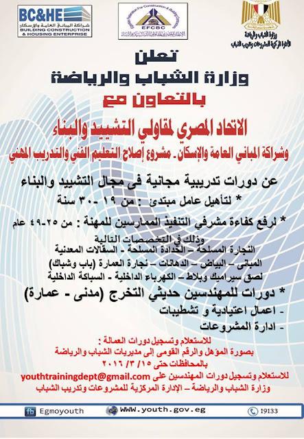 اعلان وزارة الشباب والرياضه منشور فى  24/2/2016