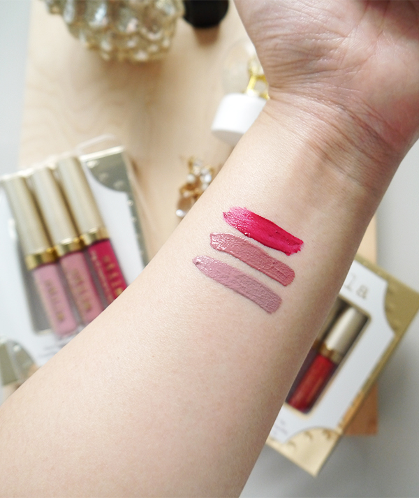 Stila holiday 2017 Stay Cool Stay All Day Liquid Lipstick gift set includes Baci, Patina, and Bacca. Swatches photographed in natural light.