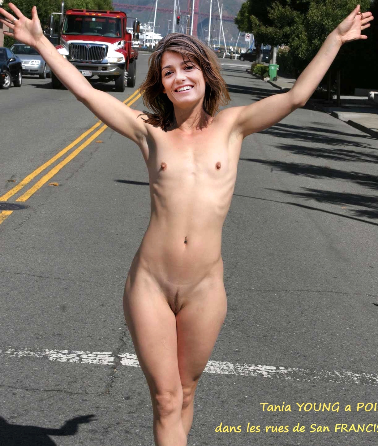 Tania Young naked slim body full nude outdoor photo
