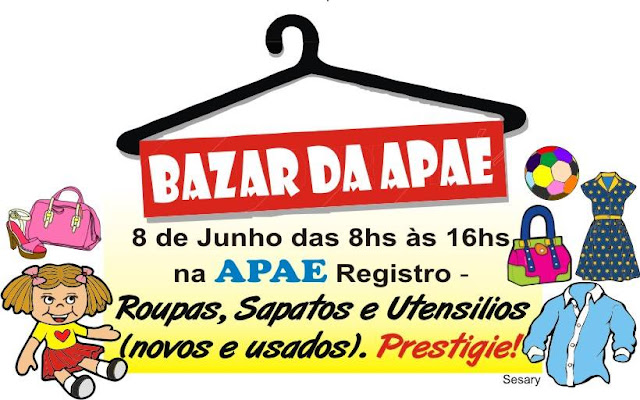 APAE de Registro-SP realizará Bazar Beneficente