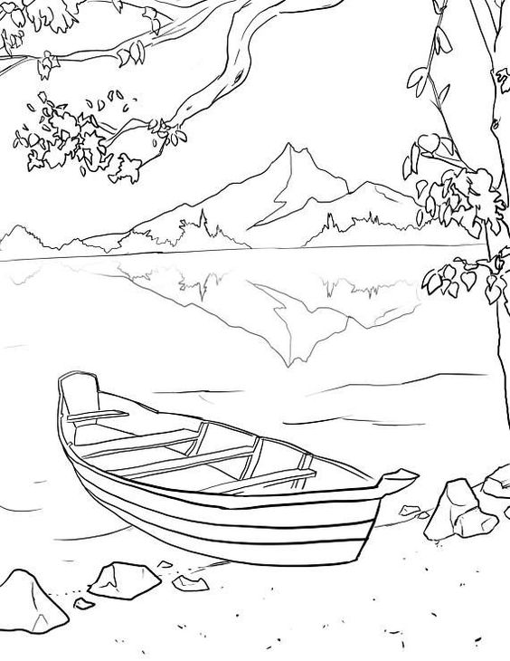 Tranh tô màu phong cảnh thuyền và núi