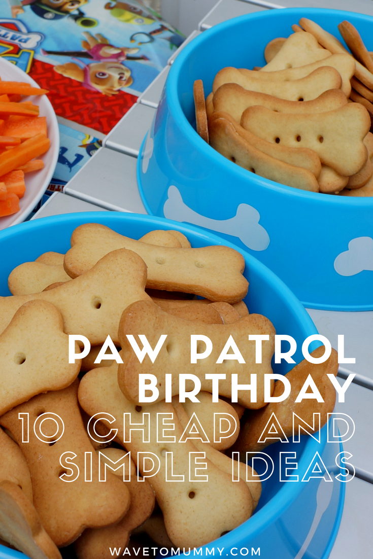 10 easy and simple ideas for a Paw Patrol birthday party for kids - including food, biscuits, cake, decoration and entertainment!
