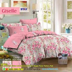 Sprei Custom Katun Lokal Dewasa Giselle Bunga Floral Pattern Pink