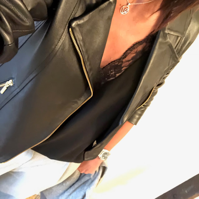 my midlife fashion, village england necklace, zara lace trim camisole, baukjen everyday leather biker jacket, mango loose fit front pleated trousers, golden goose leopard print superstar trainers