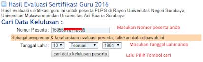 cara melihat tanggal sertifikat pendidik plpg di unesa