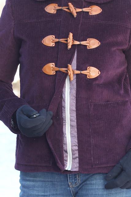 Grainline Cascade Duffle Coat made from Sewing Studio Wine Corduroy front zipper band