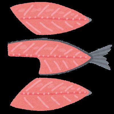 魚の三枚おろしのイラスト