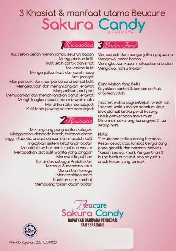 Khasiat dan manfaat utama Beucure Sakura Candy, Sakura Candy, memutihkan kulit, sihat
