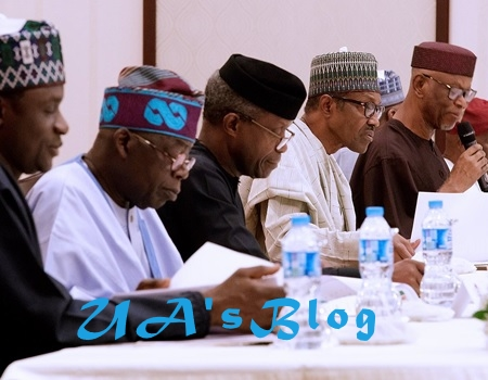 Tinubu Meets With APC Chairman Oyegun And APC Leaders in Abuja