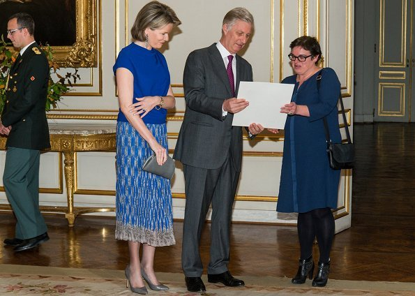 Queen Mathilde and King Philippe hosted a royal reception for the newly appointed suppliers. Natan top and skirt
