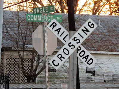 Railroad Crossing RR sign - Nalge St st Commerce Street