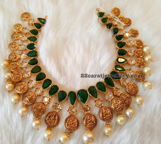 Emerald Choker with Lakshmi Coins