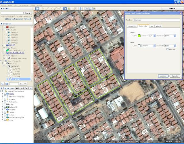 Comandos para agregar y modificar polígonos en Google Earth