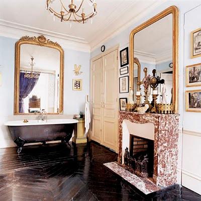 Chevron floor in home decor bathroom