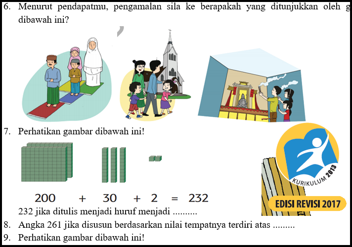 Download Soal UTS Kelas 2 SD Kurikulum 2013 Revisi Semester 1  Kurikulum 2013 Revisi