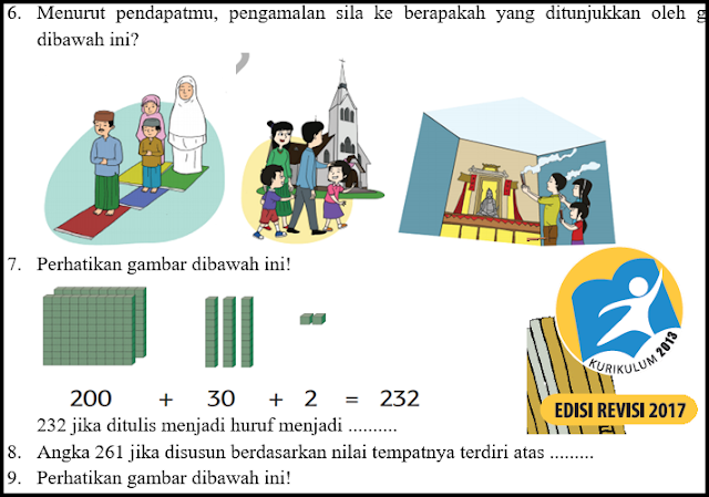 Download Soal UTS Kelas SD Kurikulum 2013 Revisi Semester 1