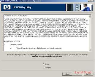 HP USB Key Utility end user license agreement