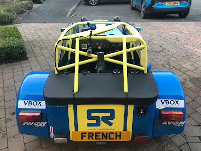 VBOX, Avon and Snappy Racers decals on the rear of my 2018 Caterham Roadsport championship challenger