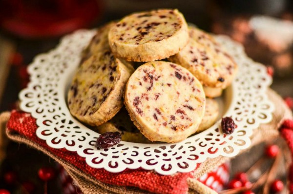 Cranberry Pistachio Shortbread Cookies from Domestically Speaking