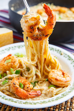 Cajun Shrimp Cauliflower Alfredo Linguini