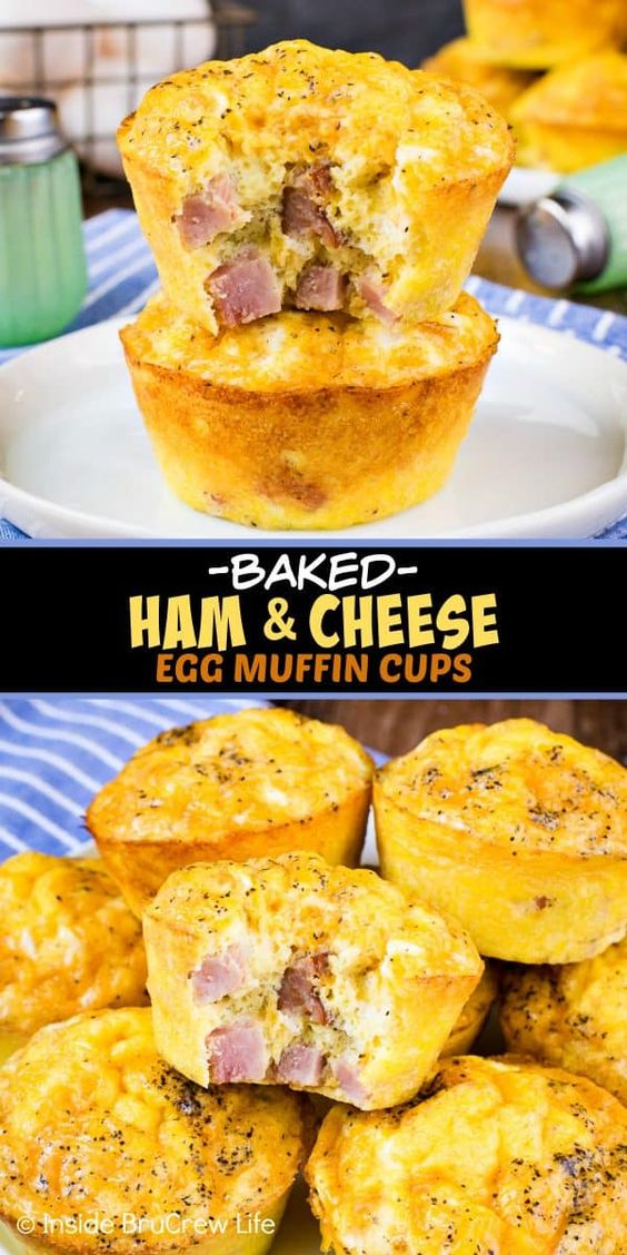 BAKED HAM AND CHEESE EGG MUFFINS