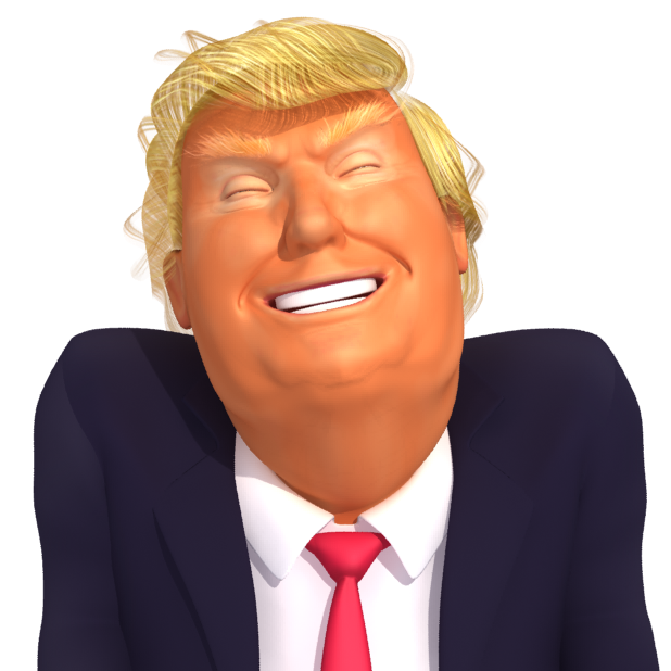 #Trumpstickers Laughing Trump 3D Caricature Emoji