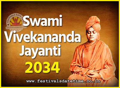 2034 Swami Vivekananda Jayanti Date & Time, 2034 National Youth Day Calendar